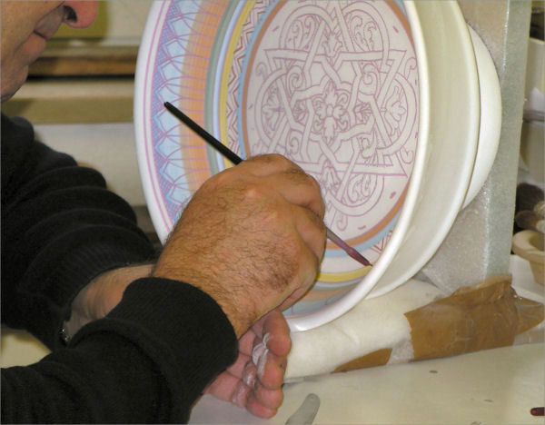 Colors on handpainted Italian ceramic before the kiln firing
