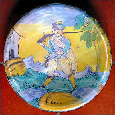 Tuscan ceramics - Arlecchino wall plate from Montelupo
