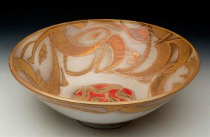 Large bowl with amber-silver and copper-red vapoured lustre decoration, 1998 - Alan Caiger-Smith - Credits: www.catalogue-host.co.uk