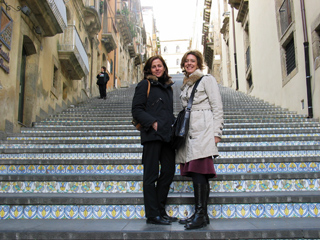 Manuela (left) and Tiziana (right) in Caltagirone, Sicily