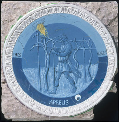 Italian Ceramics - April, one of the twelve roundels with the labours of the months by Luca Della Robbia for Piero De Medici studio (ca 1450-6) - Photo credits: Victoria and Albert Museum