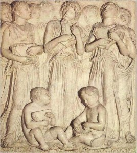 Italian Ceramics - Cantoria (detail) by Luca Della Robbia (1431-38), Museo dell'Opera del Duomo, Florence - Photo credits: Web Gallery of Art