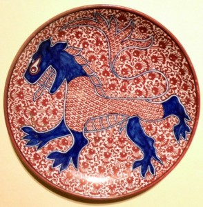 Fig. 10 - Ruby and blue lustre Hispanic style dish. Diam. 19 cm. Photo Credits: Sheila Forbes