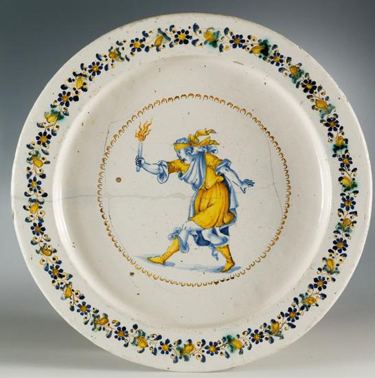 Italian ceramics - Plate with Tedoforo, Ceramics Museum of San Nicola Basilica in Tolentino - Photo credits: www.micfaenza.org