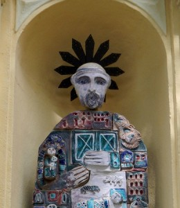 Saint Dominic ceramic statue. Oratorio Sant'Adrea in Monterosso, Five Lands