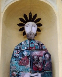 Saint Andrew ceramic statue. Oratorio Sant'Adrea in Monterosso, Five Lands