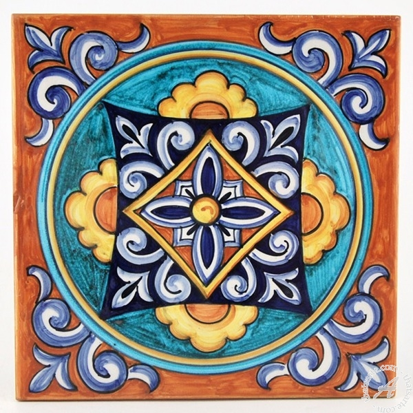 Hand Painted Italian Tile 04 by Francesca Niccacci
