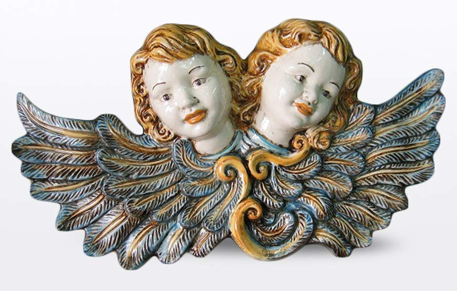 Sicilian wall plaque with angels, handmade by Ceramiche Sofia