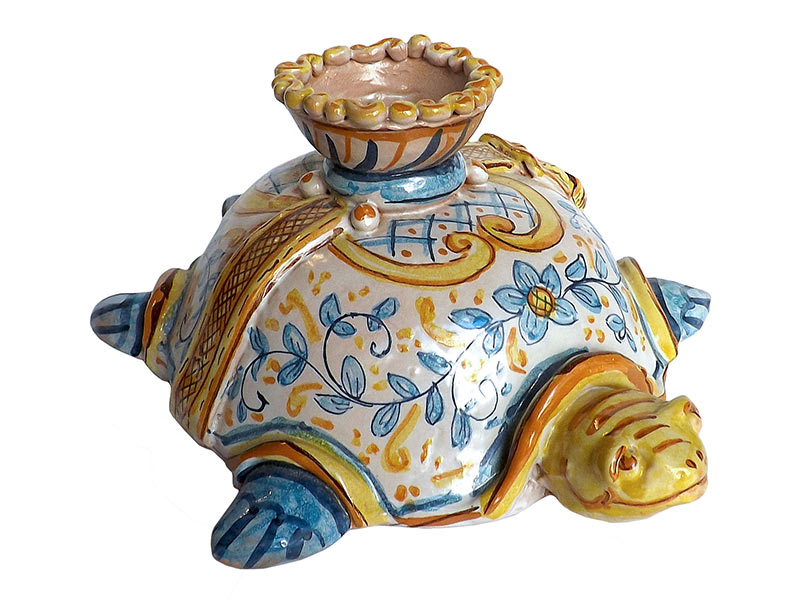 Sicilian turtle figurine candle holder, handmade by Ghenos