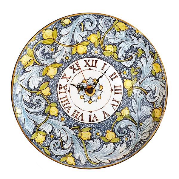 Sicilian wall clock with lemons, handmade by Ghenos